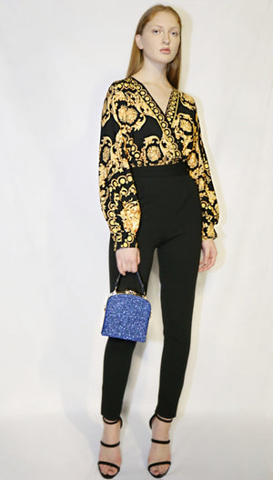 Versace-inspired jumpsuit with handbag