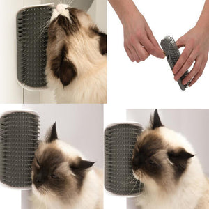Cat Self Groomer Corner Brush With Catnip