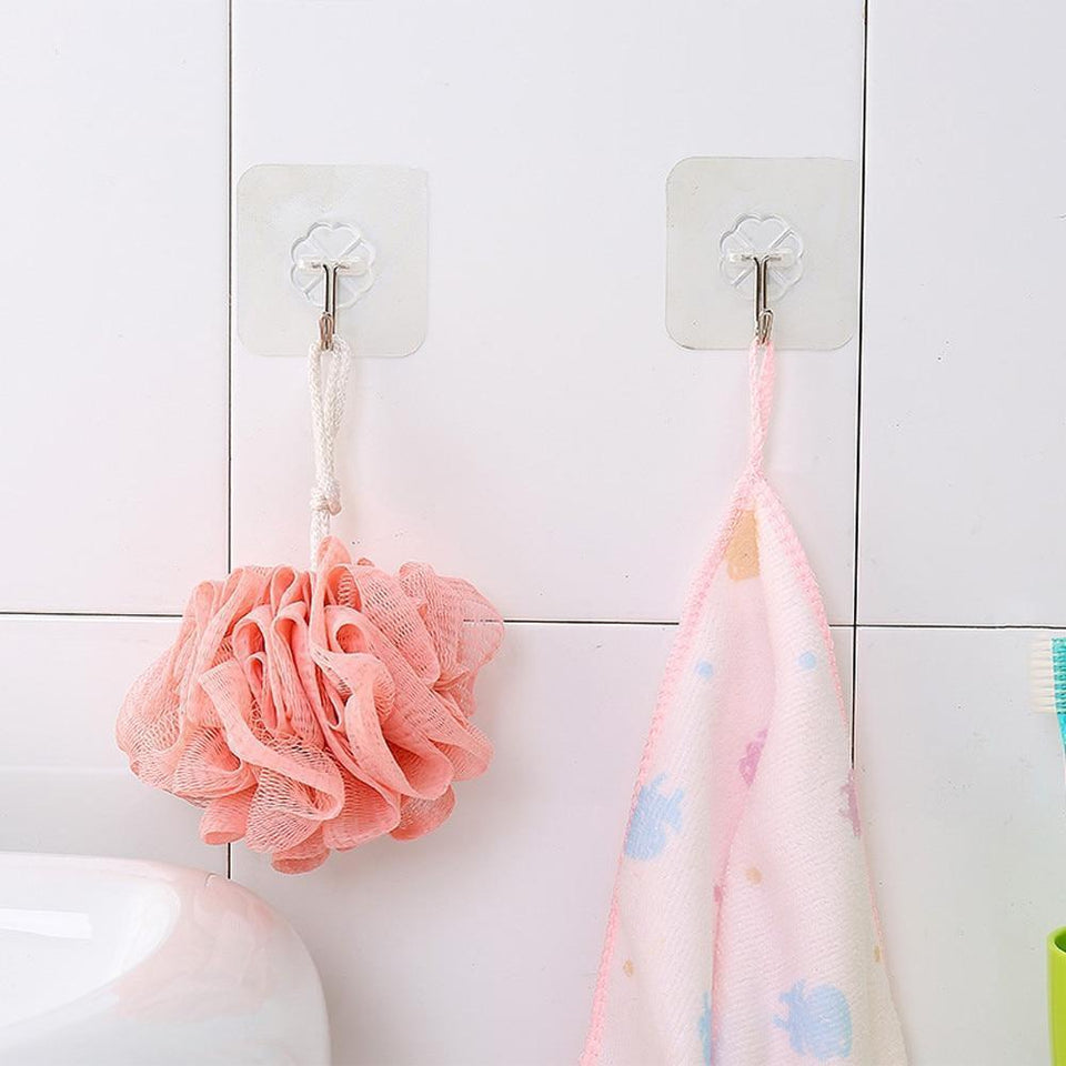 Precise 5 Pc Strong Adhesive Wall Hooks Transparent Invisible Hooks Glass Stick Ceramic Brick Kitchen Bathroom Hanging Towel Hanger Hook Bathroom Storage & Organization
