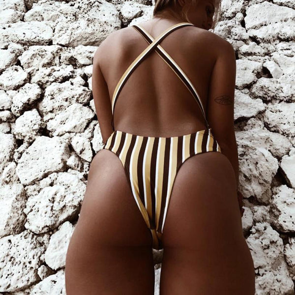 80's YELLOW STRIPE ONE PIECE