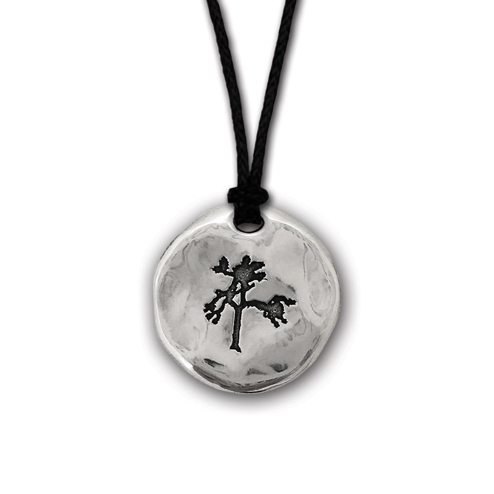 The Joshua Tree Round Silver Pendant on Cord