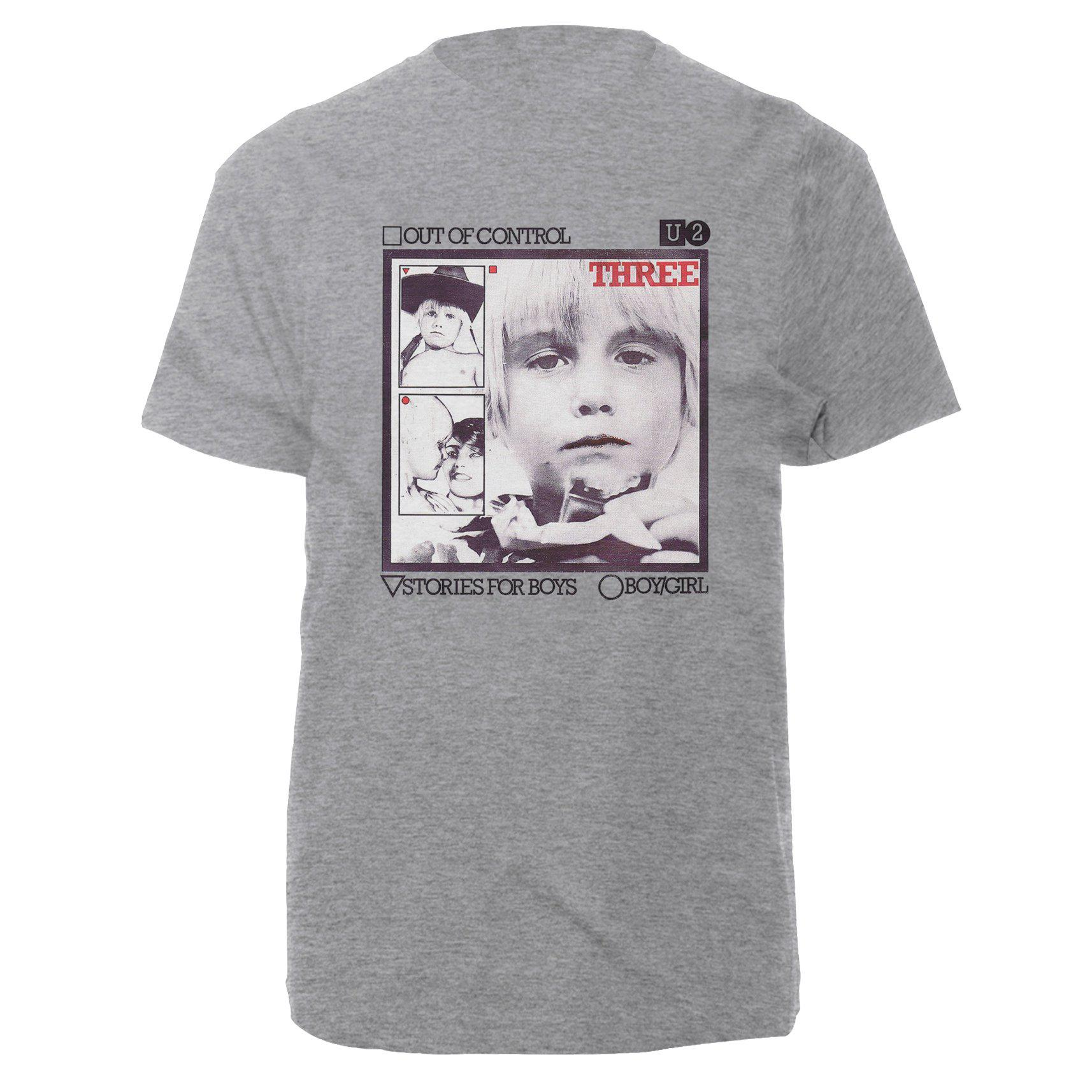 U2-3 Out of Control Photo Grey T-Shirt-U2