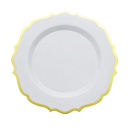 "10 pcs 10"" White Plastic Dinner Plates With Gold Scalloped Rim - Disposable Tableware DSP_PLR0011_10_GOLD"