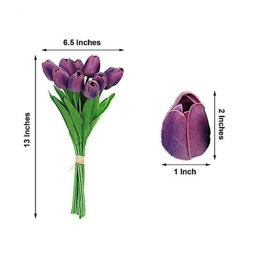 "10 pcs 13"" tall Single Stem Foam Tulips Flowers - Eggplant ARTI_TULP01_EGG"