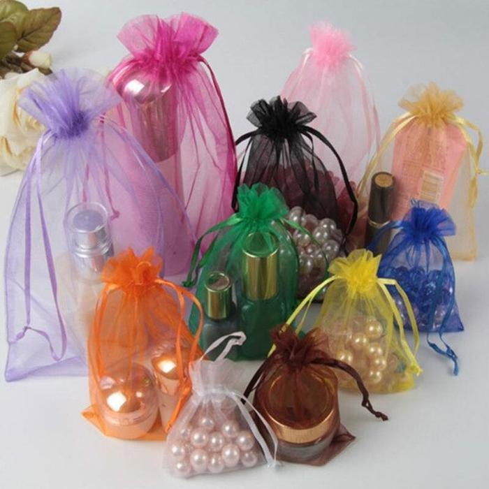 "10 pcs 6x15"" Sheer Organza Bags with Pull String - Royal Blue BAG_6X15_ROY"