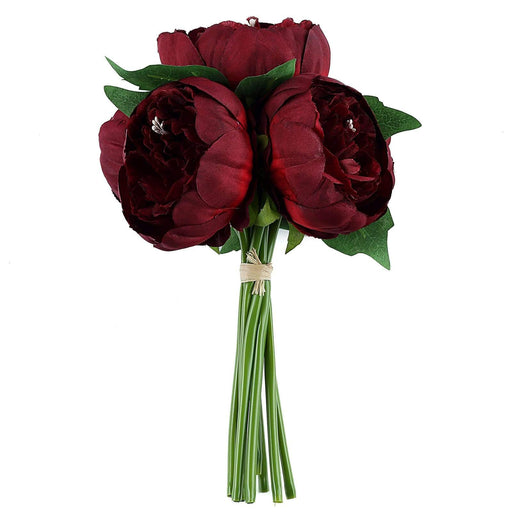 "10"" tall Silk Artificial Peony Flowers Bouquet Arrangement - Burgundy ARTI_BOUQ_PEO07_BURG"