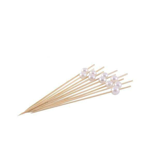 "100 pcs 4.75"" long Natural Bamboo Skewers Picks with Pearls - Light Brown DSP_BIRC_P001"