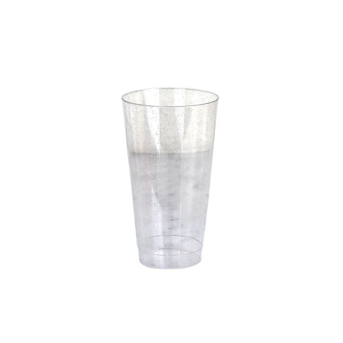 12 pcs 16 oz Silver Glittered Plastic Cocktail Glasses - Disposable Tableware PLST_CU0066_CLRS
