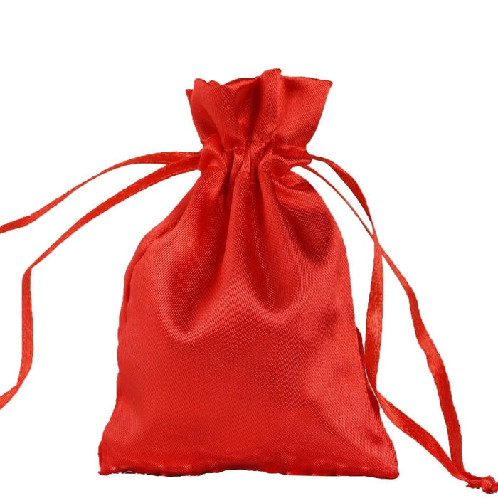 "12 pcs 3x3.5"" Satin Bags with Pull String - Red BAG_SB_3x4_RED"