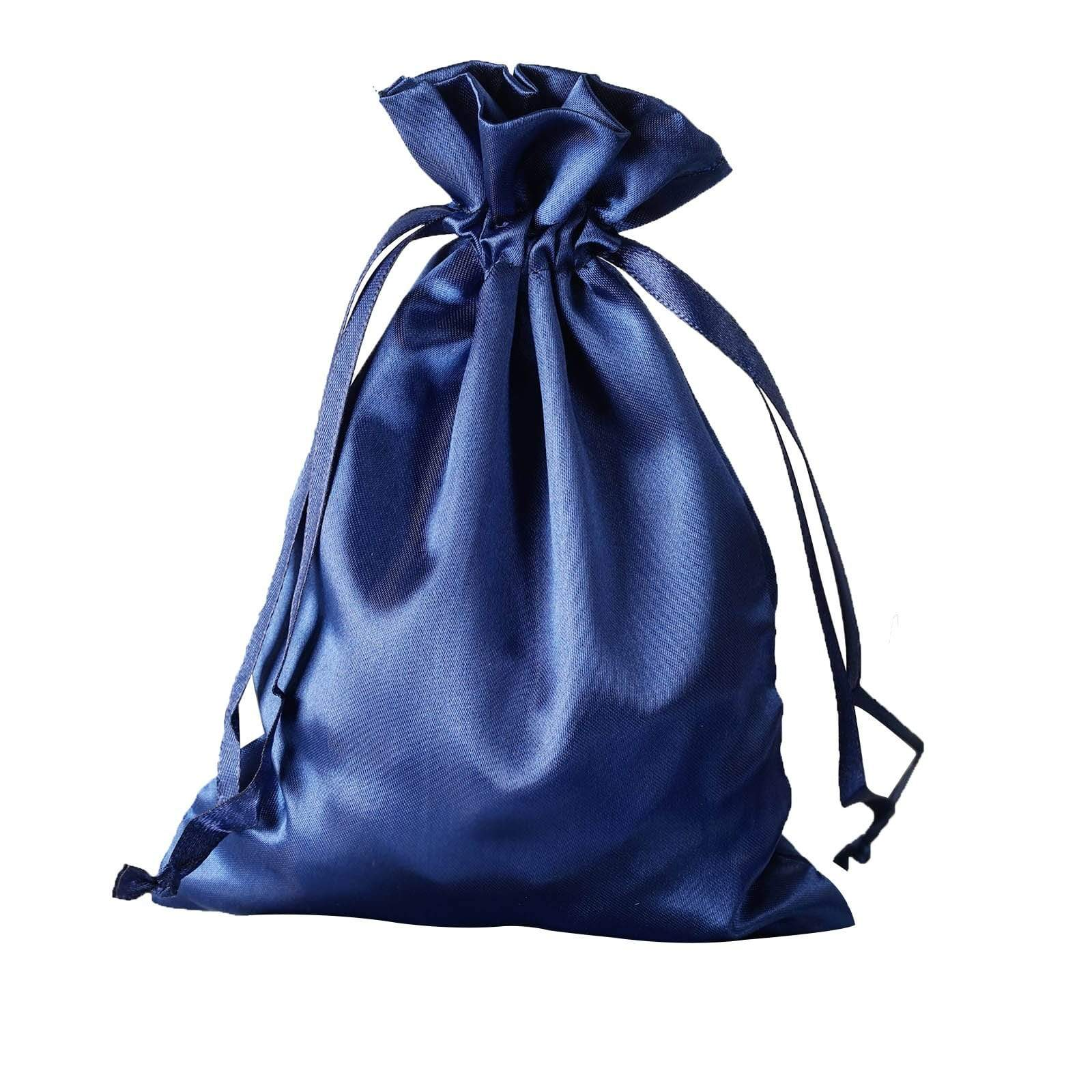 "12 pcs 5x7"" Satin Bags with Pull String - Navy Blue BAG_SB_5X7_NAVY"