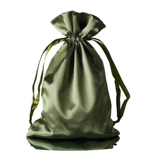 "12 pcs 6x9"" Satin Bags with Pull String - Willow Green BAG_SB_6X9_WILL"