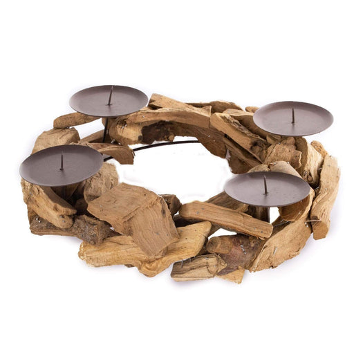 "12"" wide Natural Wood Rustic Candle Ring Holder - Brown WOD_CAND_005_NAT"