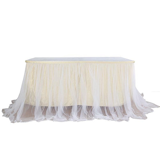 "14 ft x 48"" Dual Layer Tulle with Satin Table Skirt - Champagne and White SKT_T04_WHT_CHMP_14"