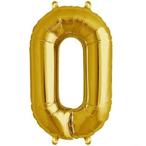 "16"" Mylar Foil Balloon - Gold Number 0 BLOON_16GD_0"