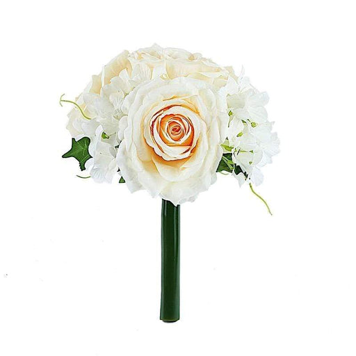 "2 pcs 11"" tall Silk Rose and Hydrangea Flowers Bouquets - Cream ARTI_RS003_CRM"