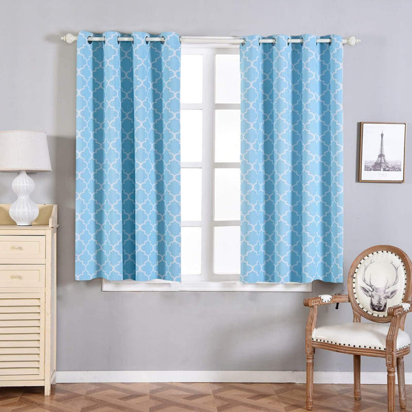 "2 pcs 52"" x 64"" Lattice Geometric Blackout Thermal Grommet Window Curtains Drapes Treatments - Blue CUR_PANMIC04_5264_BLUE"