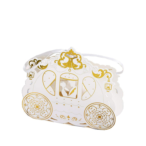 25 pcs Cinderella Carriage Wedding Favor Boxes with Ribbons - Gold and White BOX_COACH01_GOLD