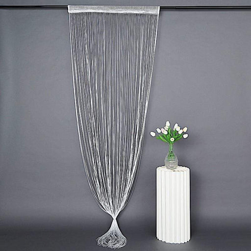 3 ft x 8 ft Silk Tassels Fringe Backdrop Curtain - Silver CUR_YY03_WHT_S