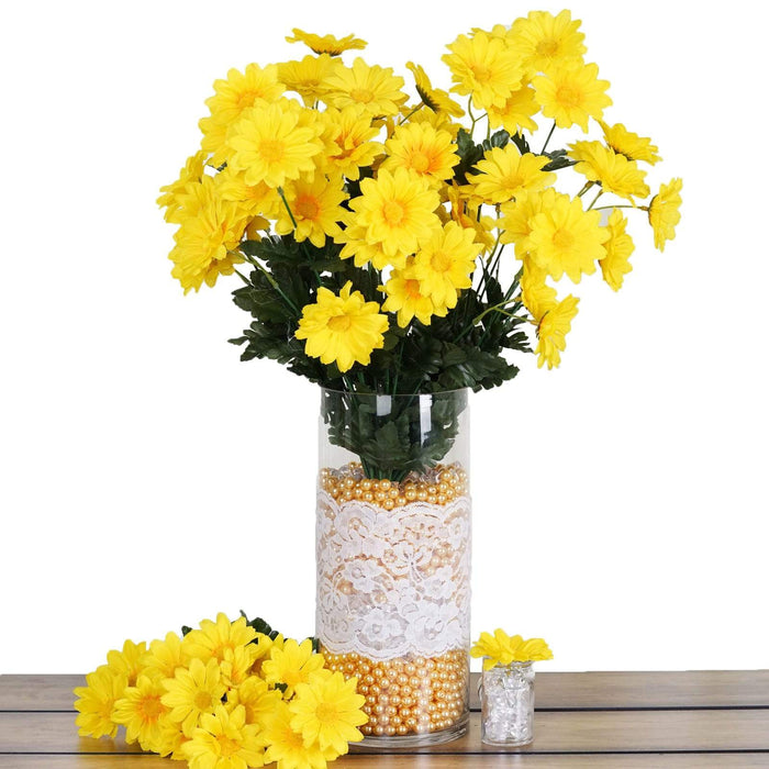 4 Silk Daisy Bushes Flowers Wedding Arrangements - Yellow ARTI_9207_YELx4