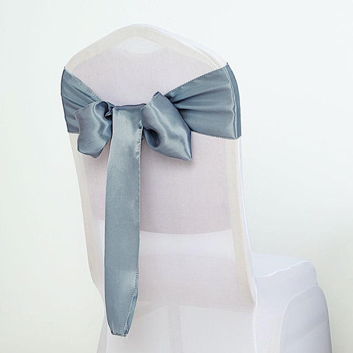 5 Satin Chair Sashes Bows Ties Wedding Decorations - Dusty Blue SASHP_SS_086