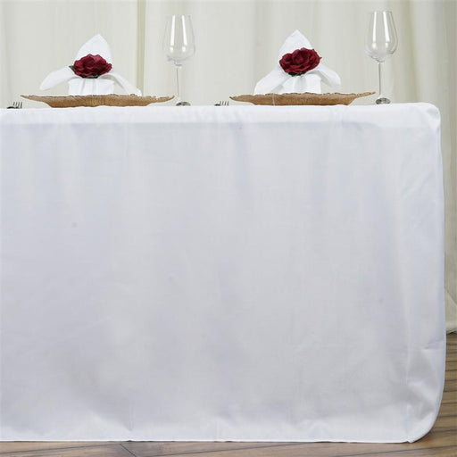 "6 ft Fitted Polyester Tablecloth 72"" x 30"" x 30"" - White TAB_FIT6_WHT"