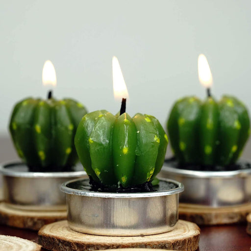 "6 pcs 1.5"" tall Tealight Cactus Candles - Green FAV_C01"