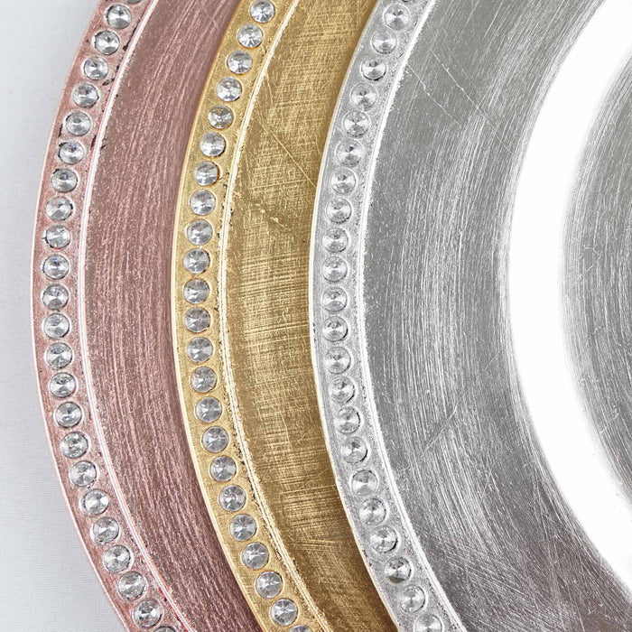 "6 pcs 13"" Round Crystal Beaded Charger Plates - Silver CHRG_1306_SILV"