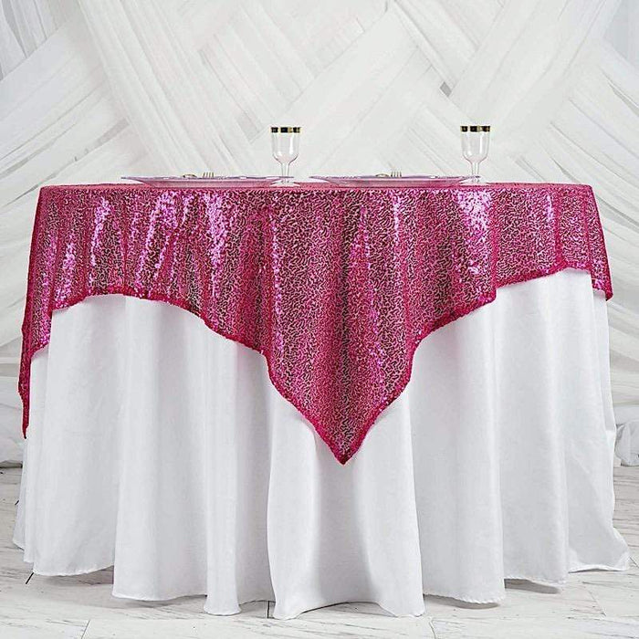 "60"" x 60"" Sequined Table Overlay - Fuchsia LAY60_02_FUSH"