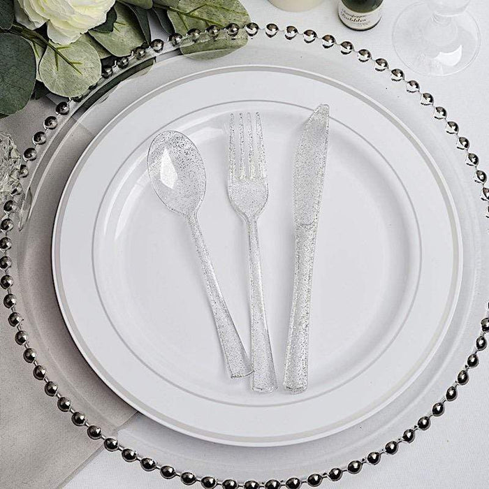 75 pcs Clear with Silver Glittered Forks Spoons and Knives Set - Disposable Tableware DSP_YY0004_7_CLRS
