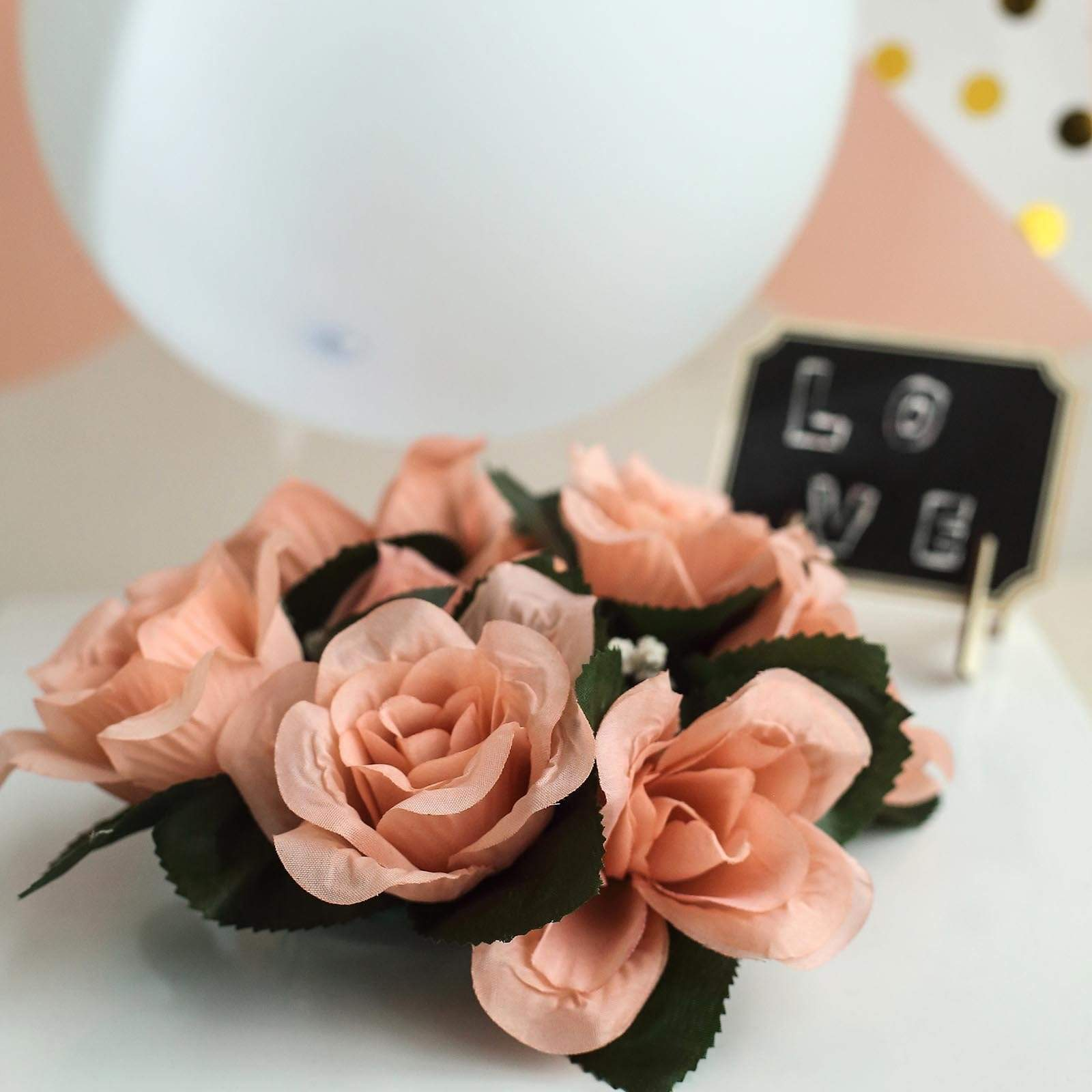 8 Candle Rings with Silk Roses Centerpieces - Dusty Rose ARTI_RING_080