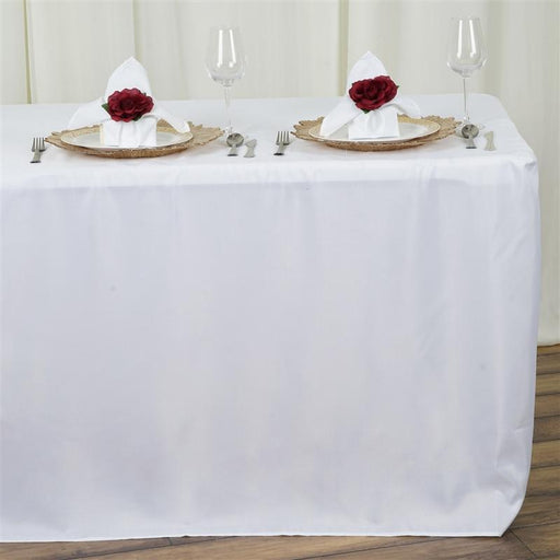 "8 ft Fitted Polyester Tablecloth 96"" x 30"" x 30"" - White TAB_FIT8_WHT"
