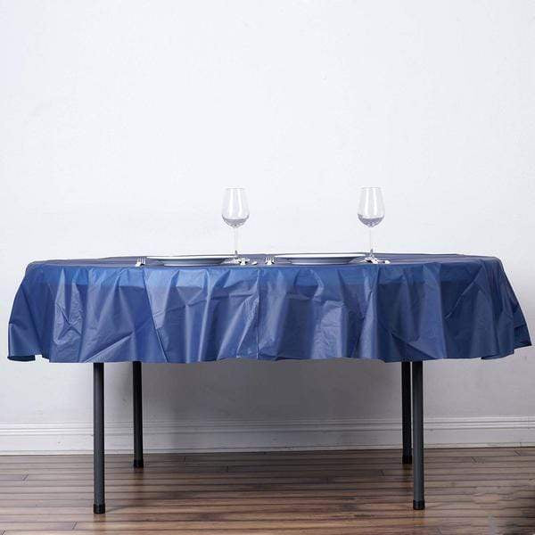 "84"" Disposable Round Plastic Table Cover Tablecloth - Navy Blue TAB_PVC_R01_NAVY"