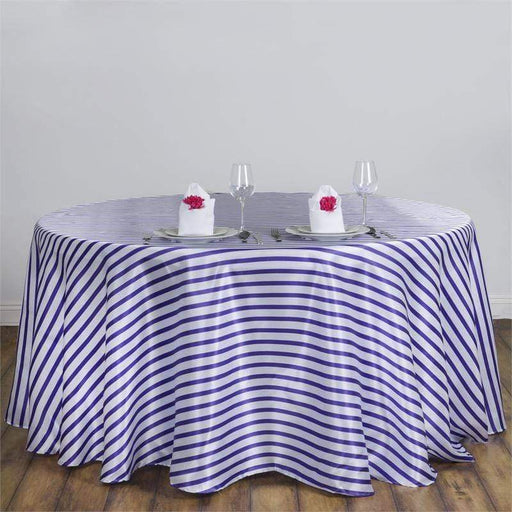 "90"" Satin Stripes Round Tablecloth - Purple TAB_14_90_PURP"