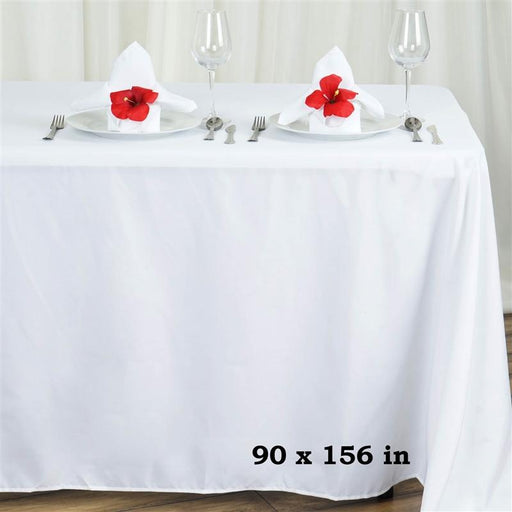"90"" x 156"" Polyester Rectangular Tablecloth - White TAB_90156_WHT"