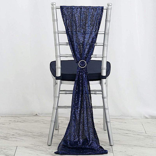 Extra Wide Premium Sequined Chair Sashes Wedding Decorations - Navy Blue RUN_02_NAVY