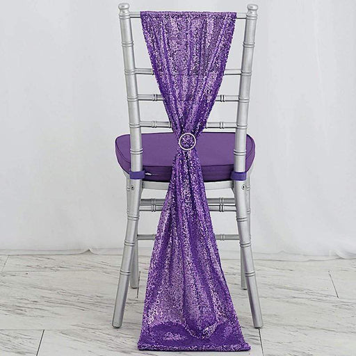 Extra Wide Premium Sequined Chair Sashes Wedding Decorations - Purple RUN_02_PURP