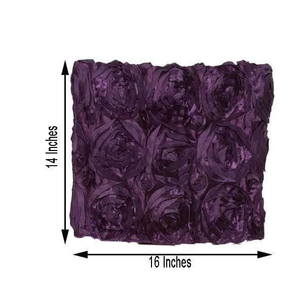 Satin Ribbon Roses Square Chair Cap Cover - Eggplant Purple CHAIR_CAP01_EGG