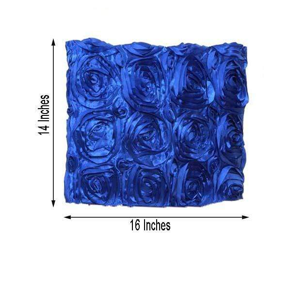 Satin Ribbon Roses Square Chair Cap Cover - Royal Blue CHAIR_CAP01_ROY