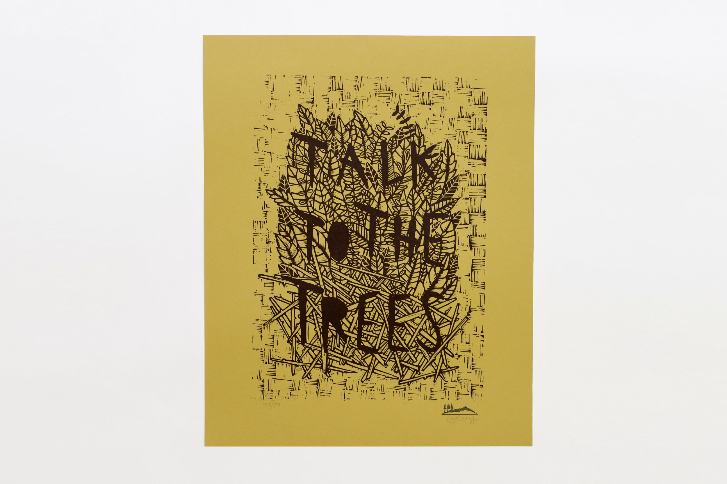 Talk To The Trees Woodcut Print