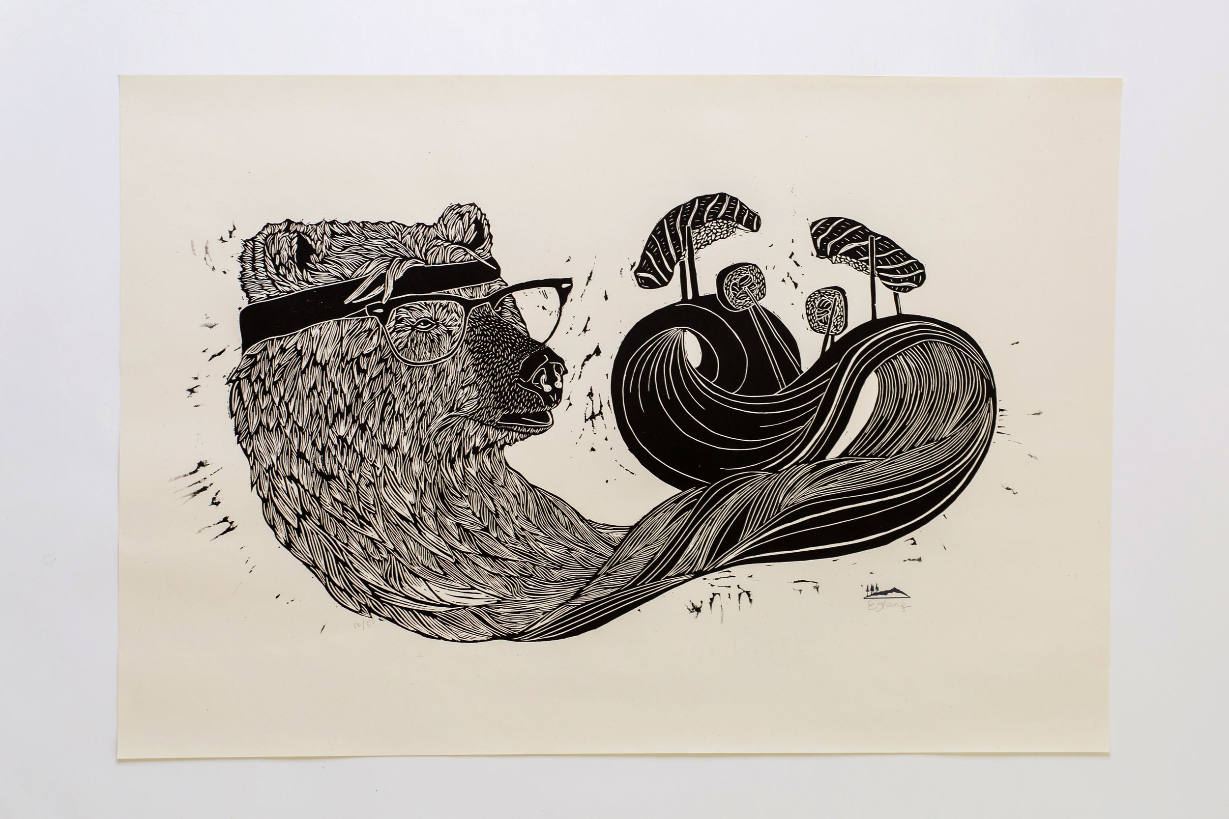 Bear Necessities Woodcut Print