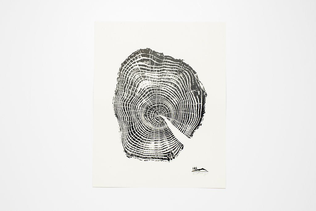 Stump Woodcut Print