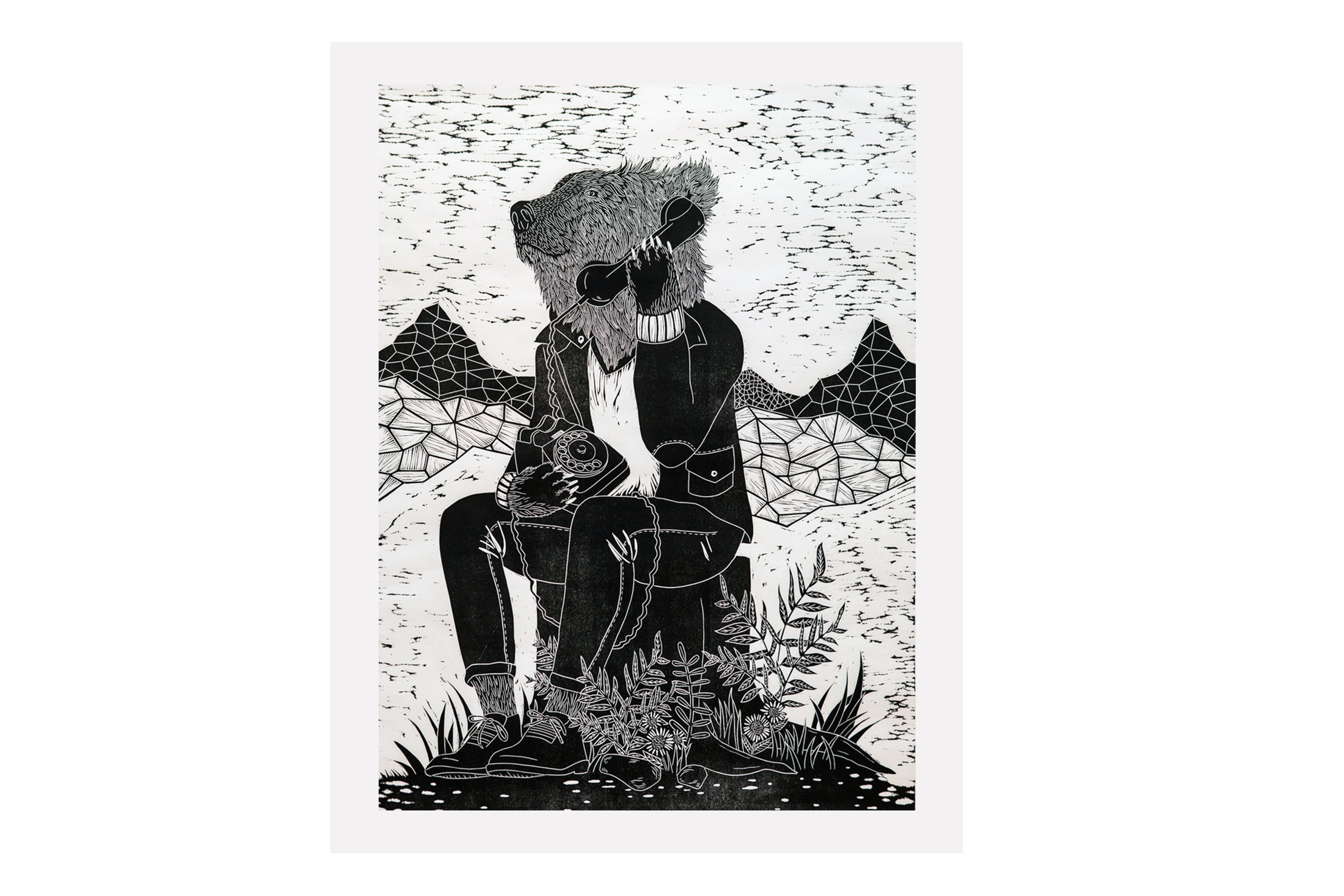 Mountains Are Calling Woodcut Print