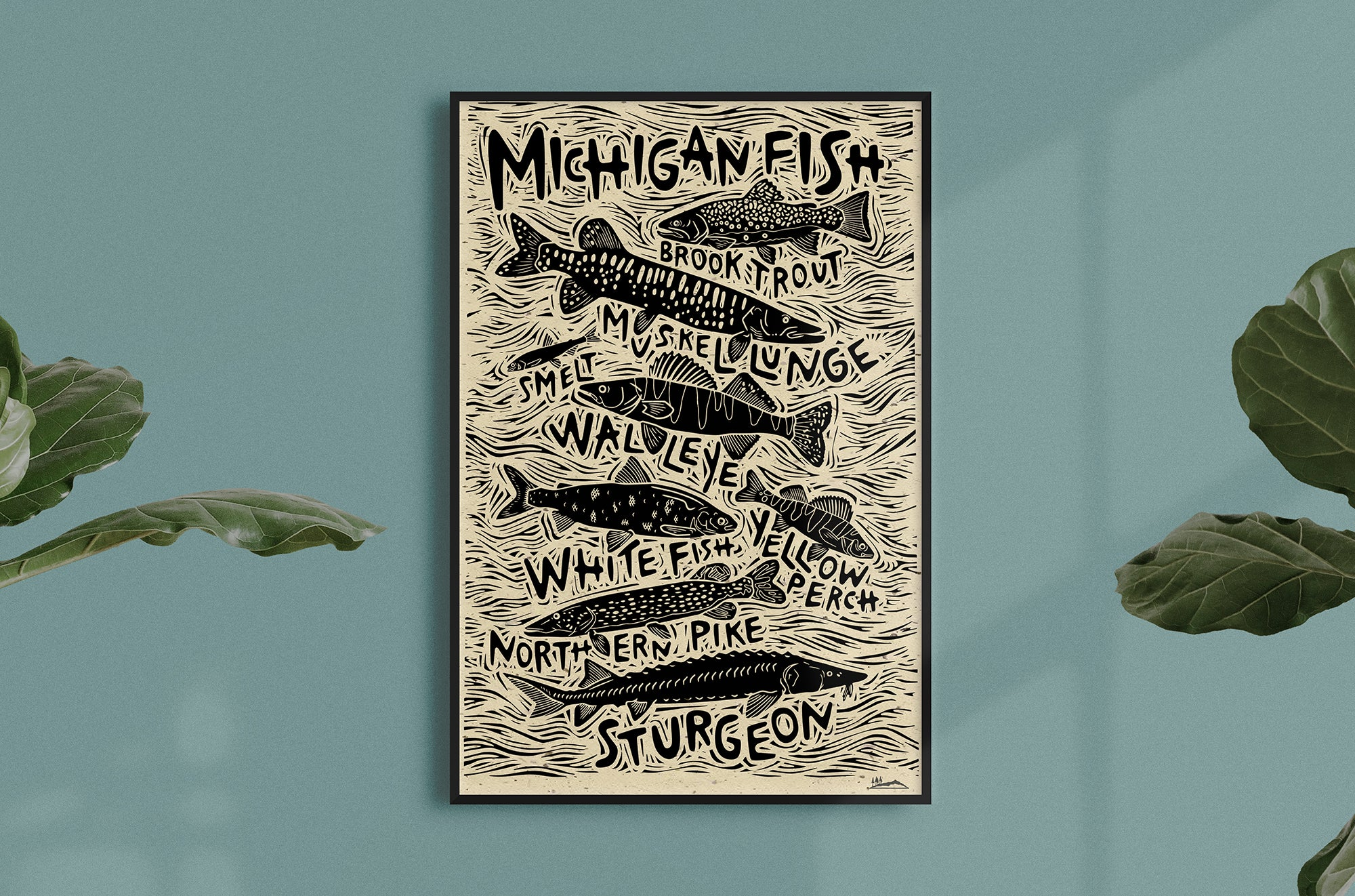 Michigan Fish Woodcut Print