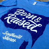 Ladies Born & Raised Map 2.0 Tee - Blue