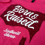 Ladies Born & Raised Map 2.0 Tee - Pink