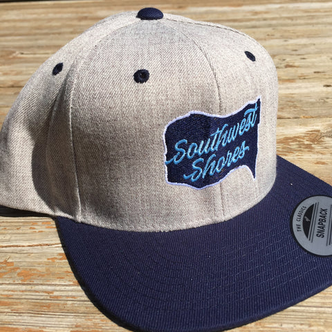 Southwest Shores Map Logo Flatbrim Snapback