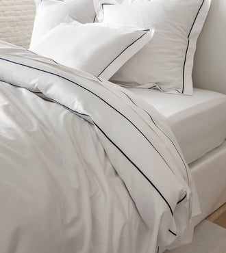 Drap plat bourdon satin Bourdon bleu