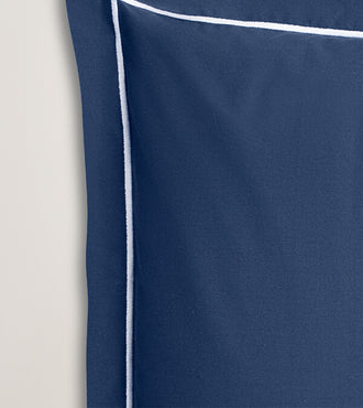 Set de 2 taies d'oreillers bourdon percale Bleu bourdon blanc