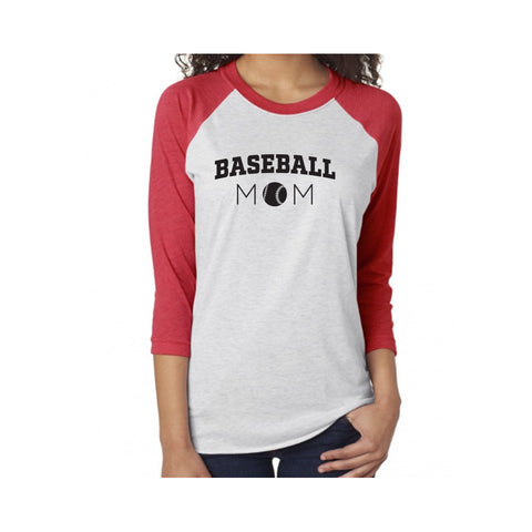 Baseball Mom V1 Tri-Blend 3/4-Sleeve Tee