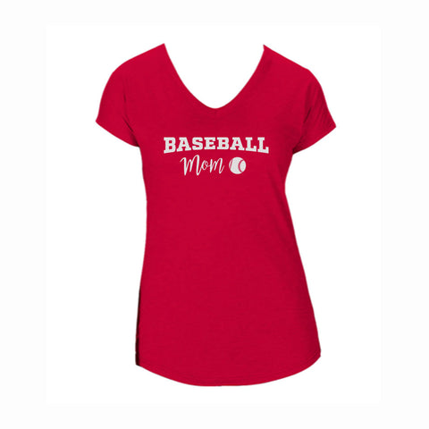 Baseball Mom V2 Triblend V-Neck Tee